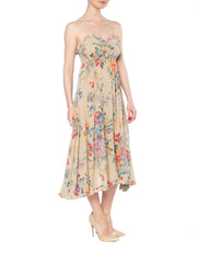 1970s Cotton Floral Spaghetti Strap Dress