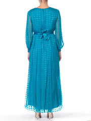 1970s Richilene Silk Chiffon Lurex Dress