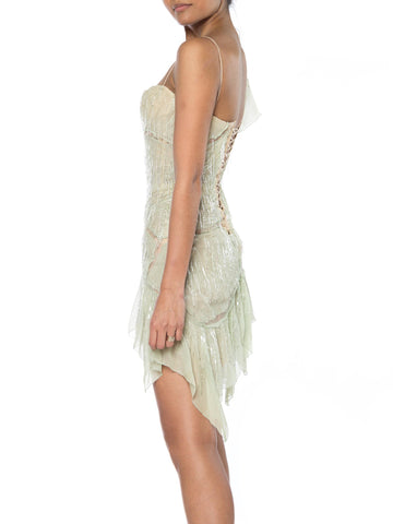"2000S Roberto Cavalli Lime Green Silk Chiffon Corset Draped Beaded Fringe ""Sex And The City"" Dress"