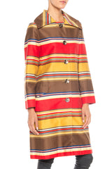 1960s Primary Color Striped Light Cotton Sateen Coat