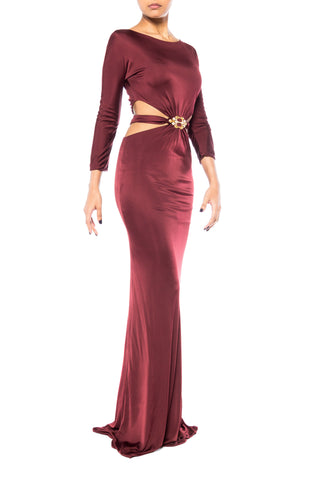 2000S ROBERTO CAVALLI Burgundy Rayon Jersey Long Sleeve Side Cut-Out Gown With Gold & Crystal Buckle