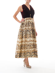 1970s Gown with Burgundy Velvet Collared Bodice and Gold Lurex Lame Floral Pattern Jacquard Skirt