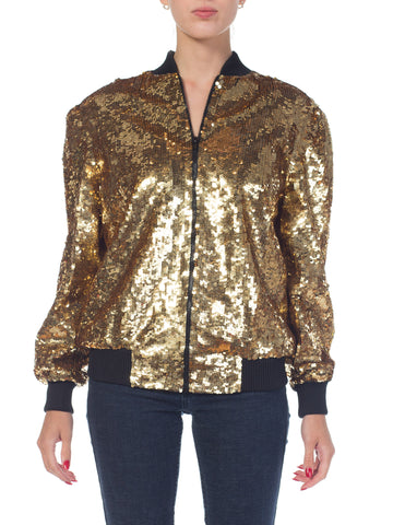 1980s Gold Sequined Bomber Jacket