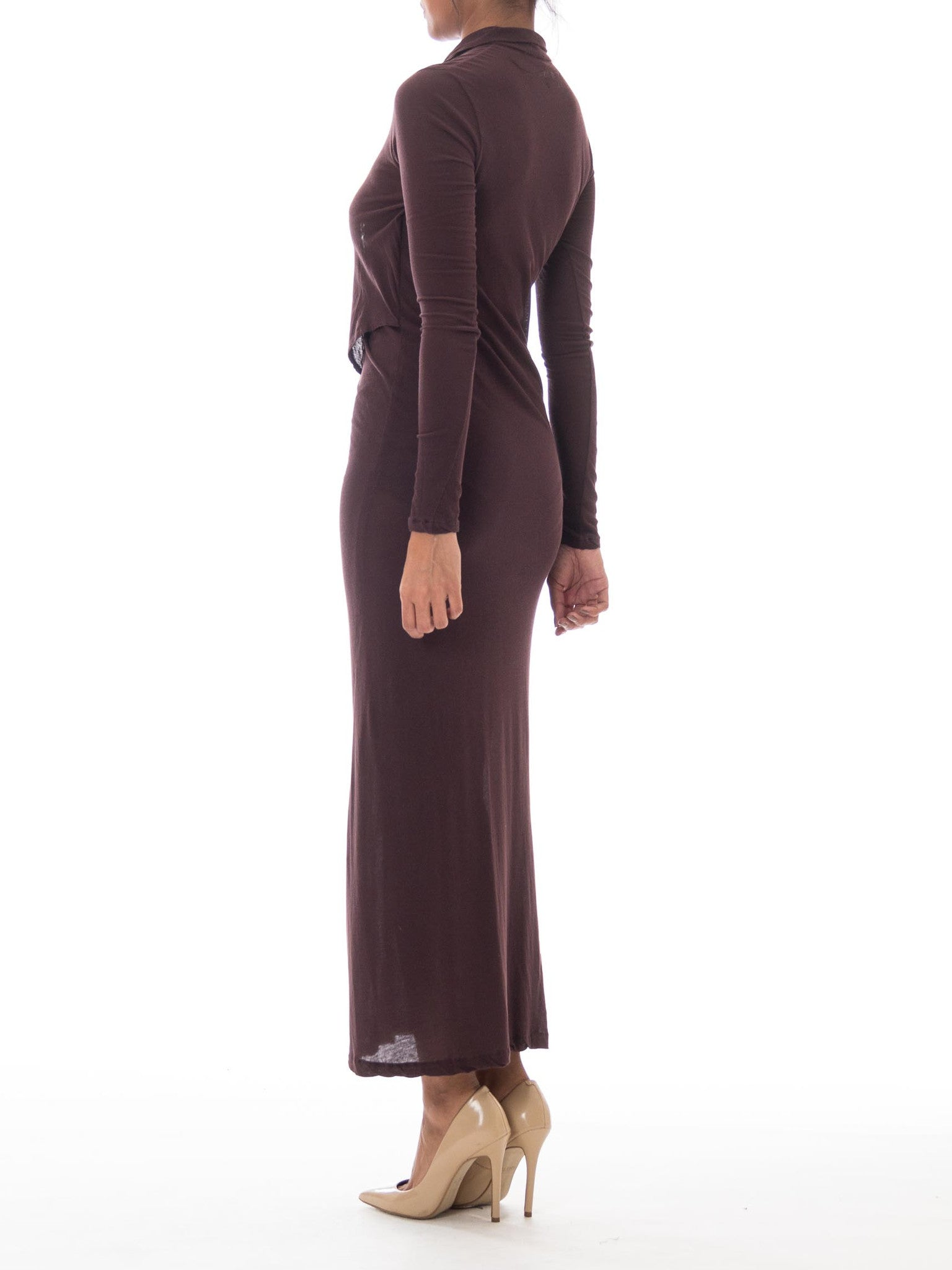 1990S YOHJI YAMAMOTO Brown Jersey Long Sleeve Layered Maxi Dress