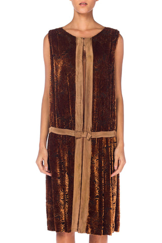 1920s Brown Silk Burnout Velvet Dress