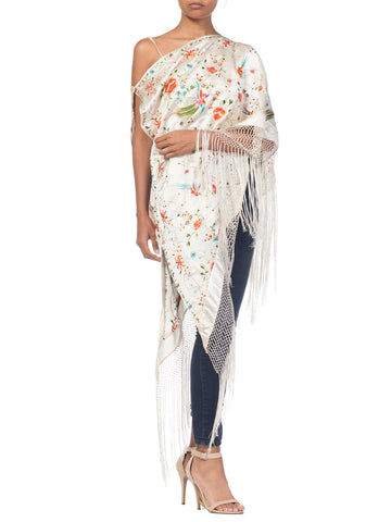 1920S Morphew Collection Fringed One Shoulder Top Made From Chinese Vintage Embroidered White Silk Piano Shawl