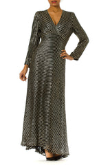 1970s Disco Bias Cut Sequin Embroidered Draped Gown