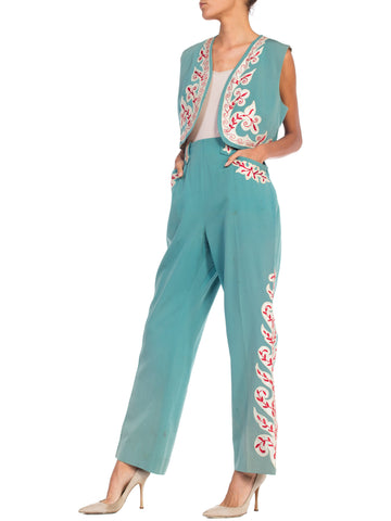 b83322ec097 1940s Embroidered   Metallic Western Vest   Pants