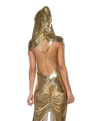 Gold Metal Mesh Dress and Hood
