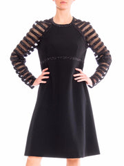 1960s Black Cocktail Dress with Mesh Sequin Stripe Sleeves