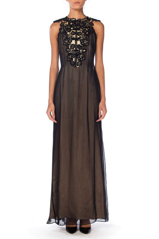 Morphew Lab Black Lace and Chiffon Dress With Frog Closures