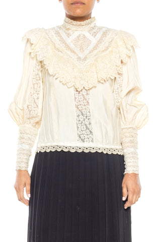 1970s Victoriana Blouse made from Antique Lace