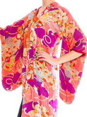 1940s Silk Abstract Floral Painted Kimono
