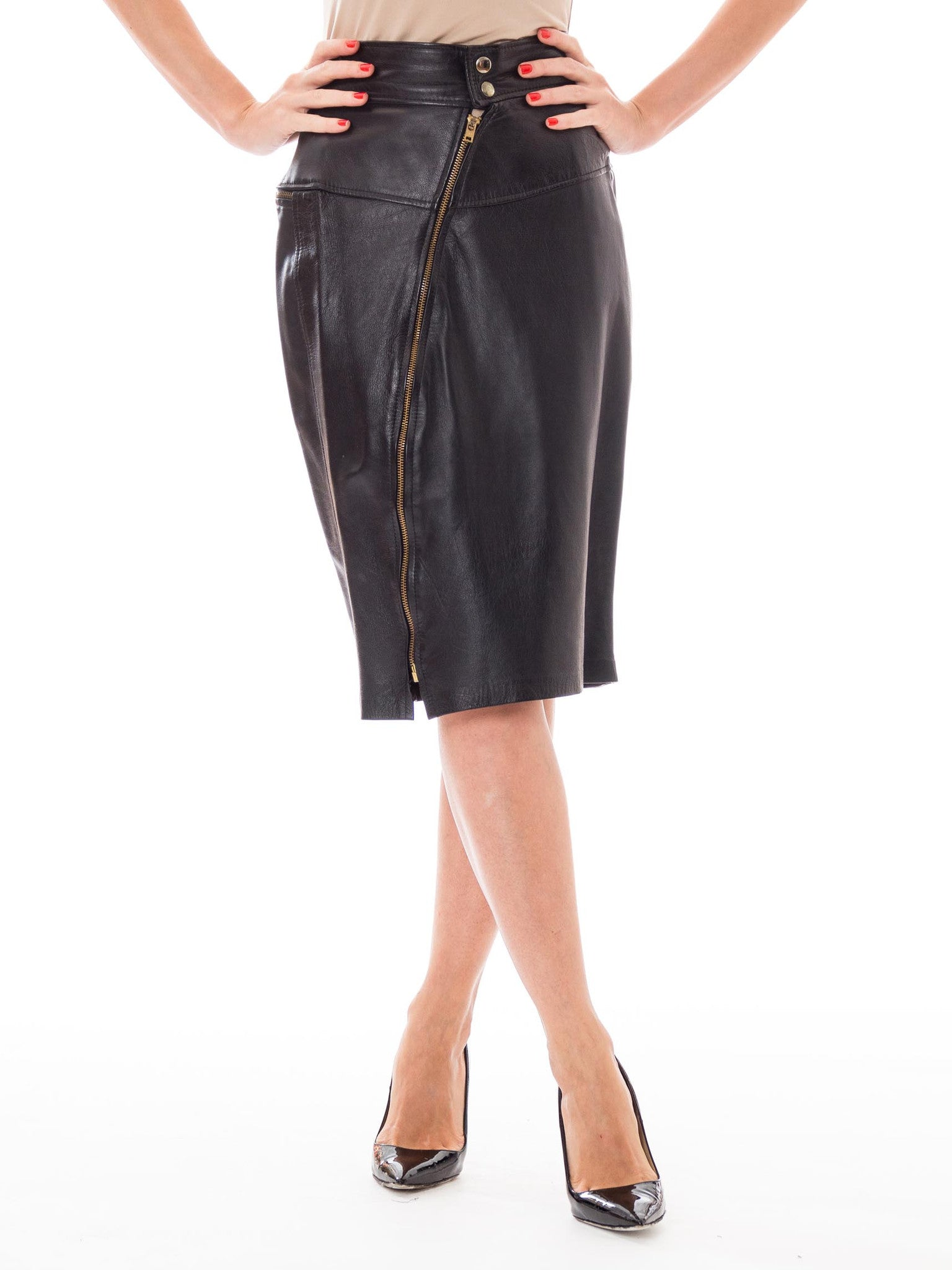 b146225dc 1980s Black Leather Biker Chick High Waisted Pencil Skirt with Diagonal  Zipper