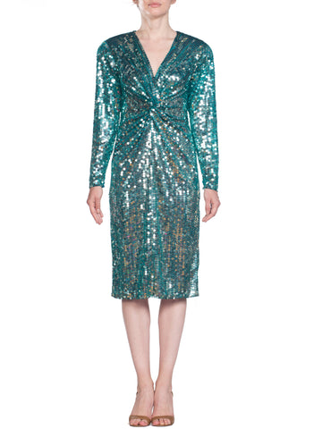 Oleg Cassini Teal Sequin Mermaid Dress