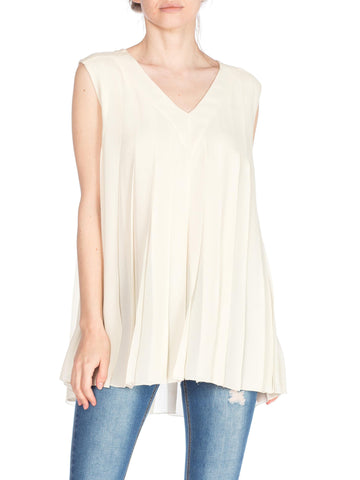 Karl Lagerfield Cream Rayon Pleated Sleeveless V Neck Top