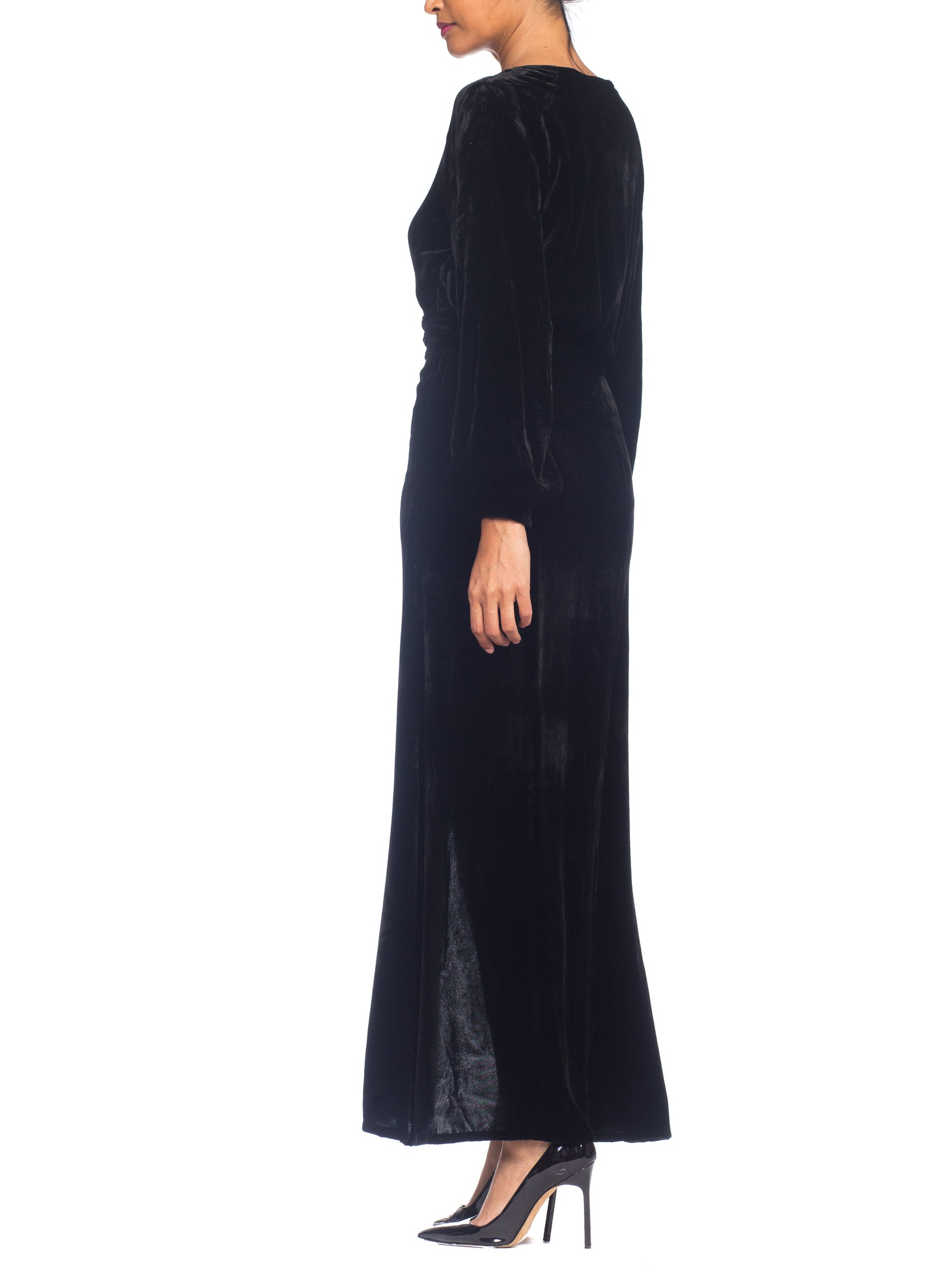 1930S Black Silk Velvet Long Sleeved Gown With Chrome Art Deco Buckle