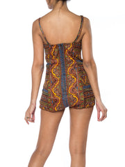 1950s Paisley One Piece Bathing Suit