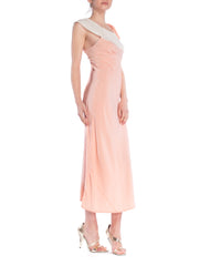 1930S Baby Pink Bias Cut Rayon & Lace Rare Unique Asymmetrical Negligee Slip Dress