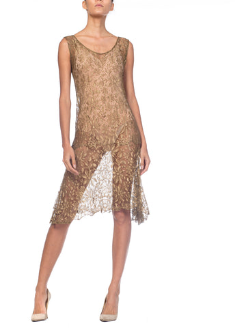 1920s Gold Metal Lamé Lace Dress