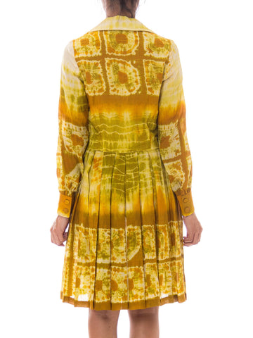 1960S Yellow Silk Tie-Dye Dress
