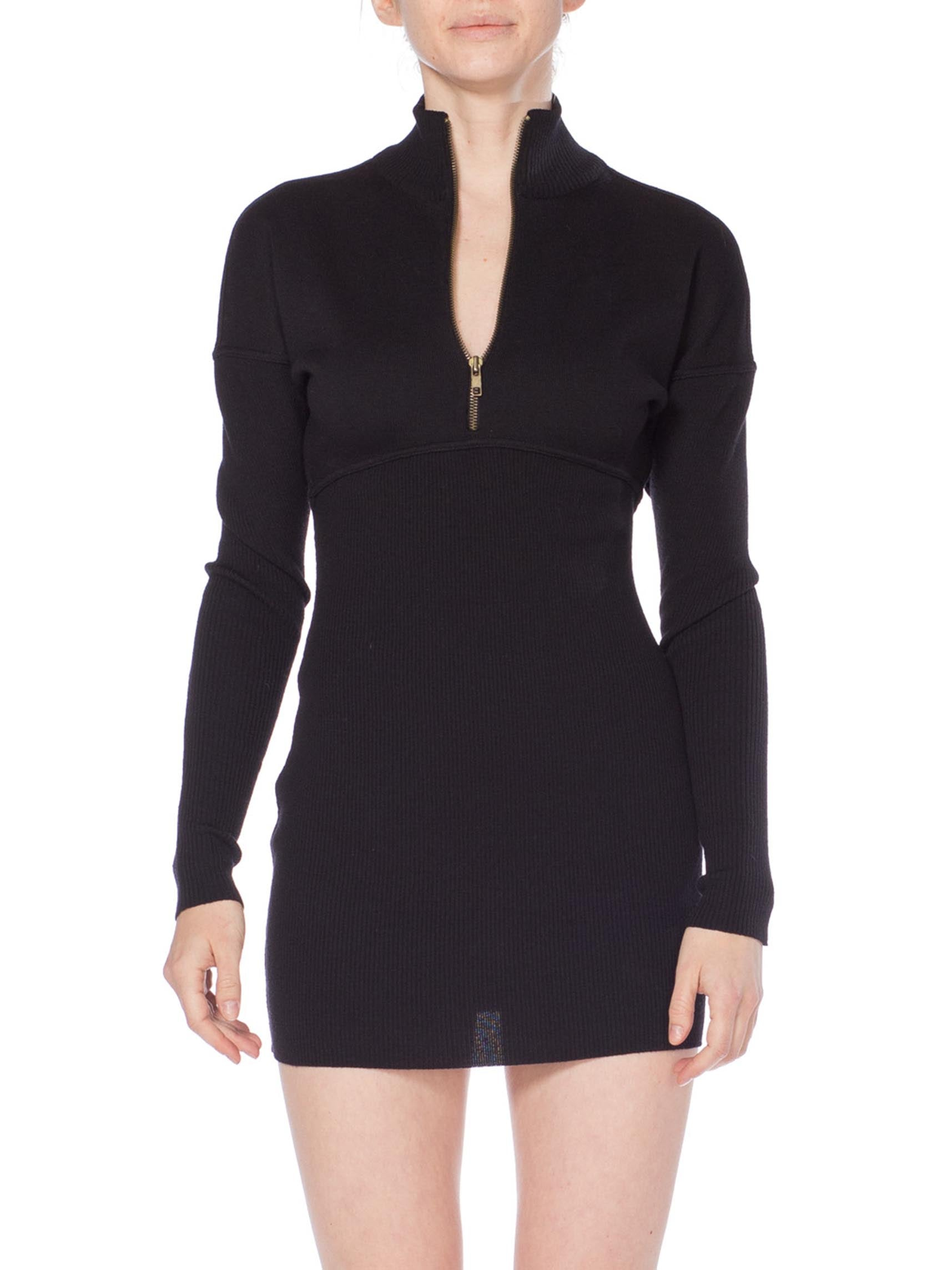 1990S Acrylic Alaia Zip Front Ribbed Knit Dolman Sleeve Bodycon Dress