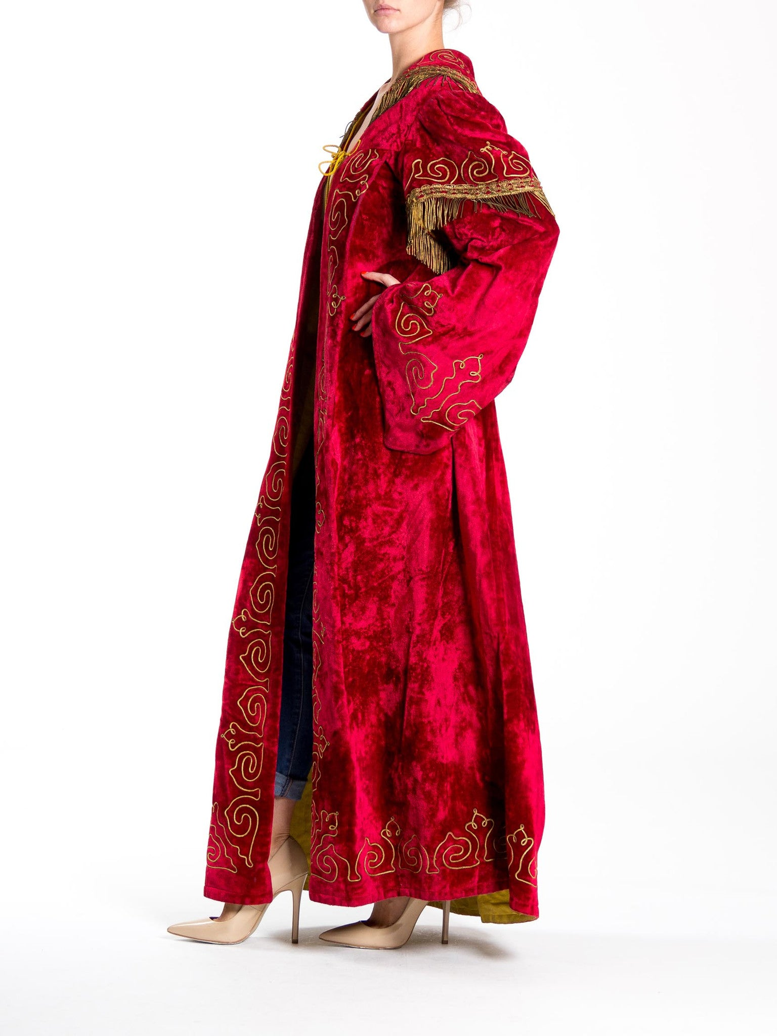 Victorian Red Embroidered Silk & Cotton Velvet Antique Secret Society Duster With Metallic Gold Fringe