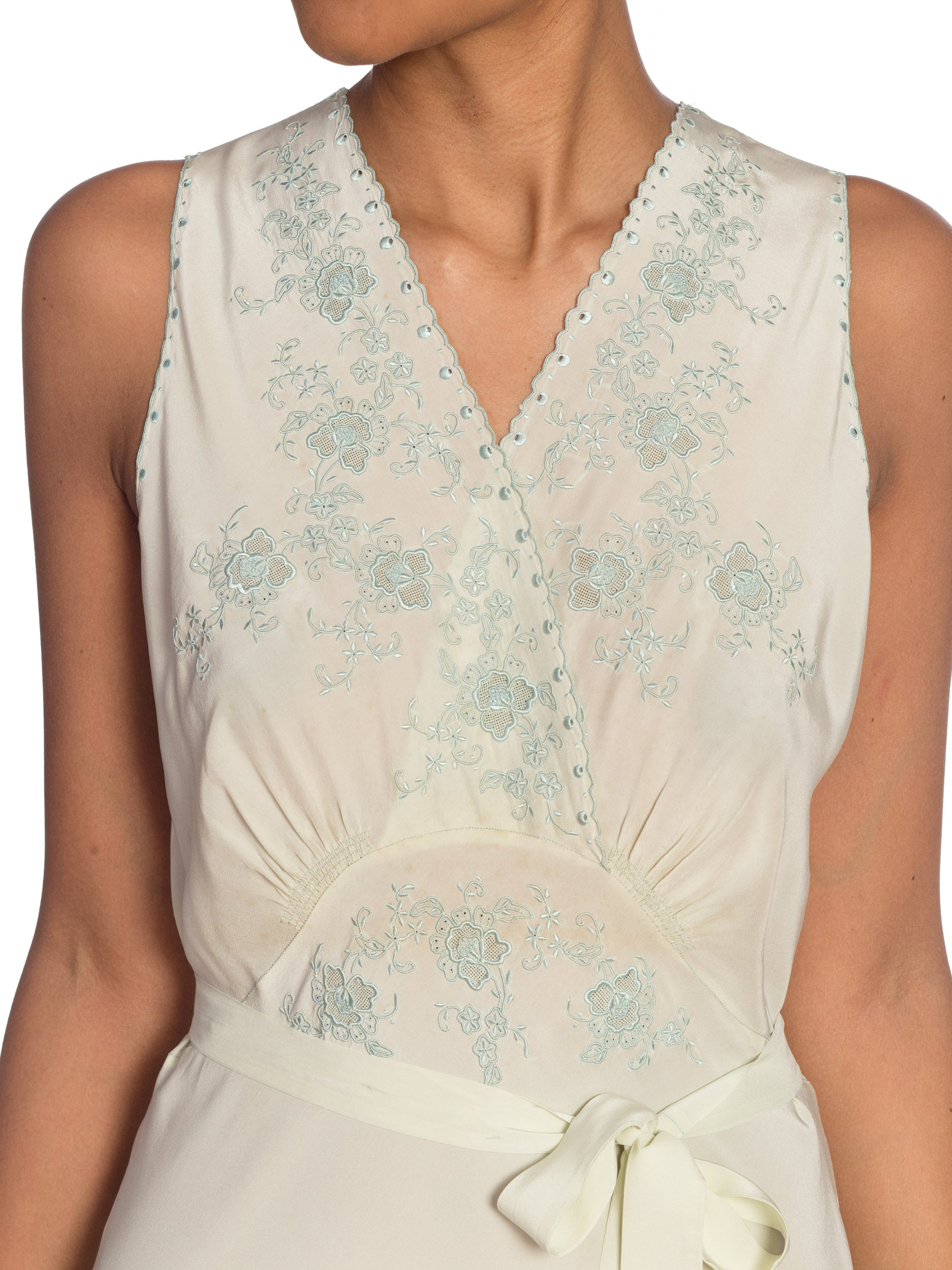 1930S Mint Green Bias Cut Silk Couture Hand Embroidered Slip Dress Negligée