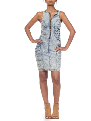 1990S Frayed Denim Bodycon Dress With Crystals