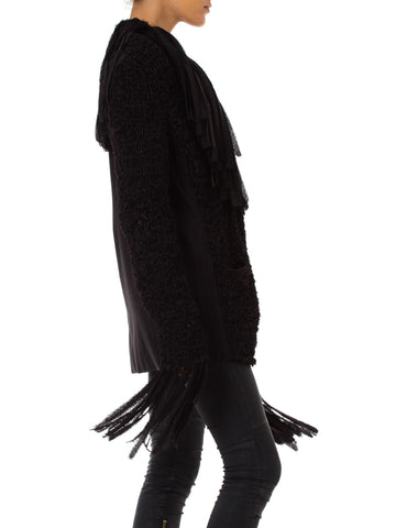 1990S JEAN PAUL GAULTIER Dark Grey Wool Crochet Macrame Jacket With Fringe