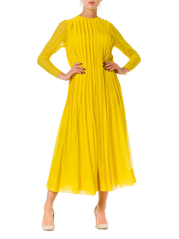 1980s James Galanos Pleated Chiffon Yellow Dress