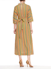 1960s Striped Terry Cloth Dolman Sleeve Dress