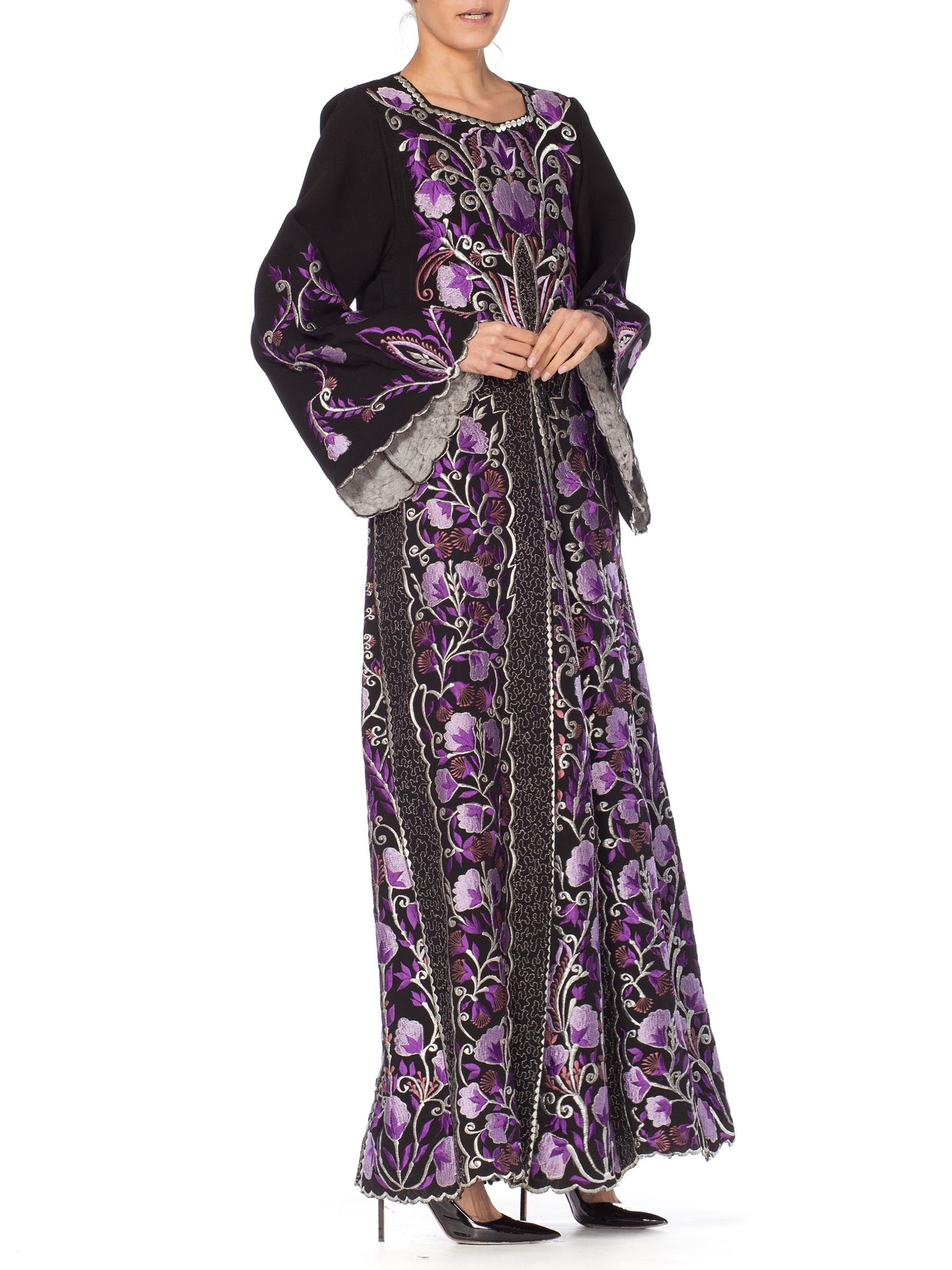 1970S Purple Embroidered  Metallic Floral Dress