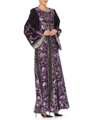 1970s Metallic Floral Embroidered Kaftan