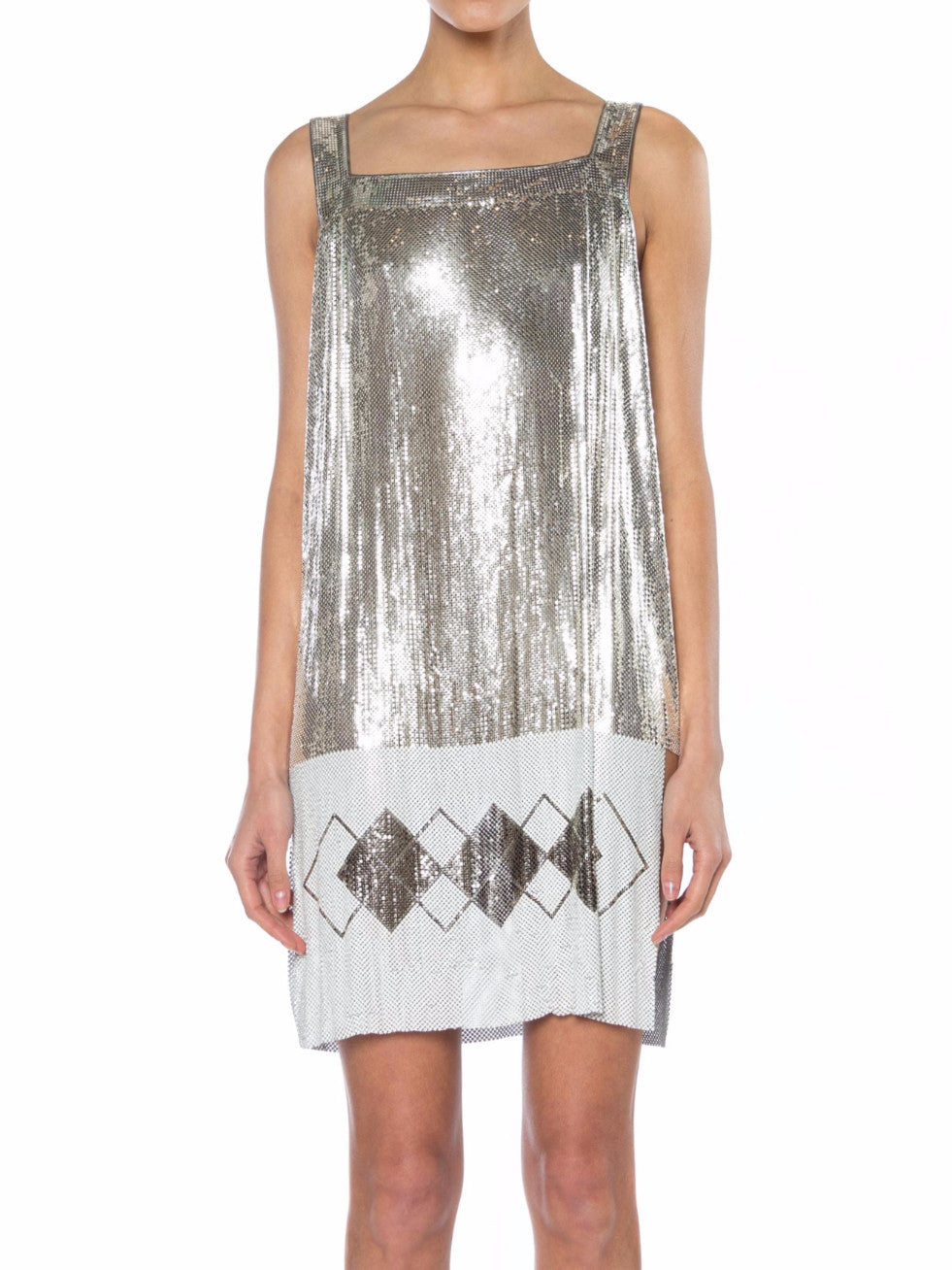 Morphew Collection Silver & White Metal Mesh Deco Patterned  Cocktail Dress With Side Slits Made From Vintage Whiting Davis