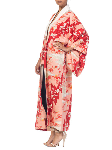Japanese Silk Kimono With Cherry Blossoms & Crystals