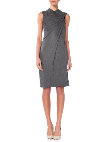 Tom Ford Gucci Heathered Drape Front Sheath Dress with Hardware