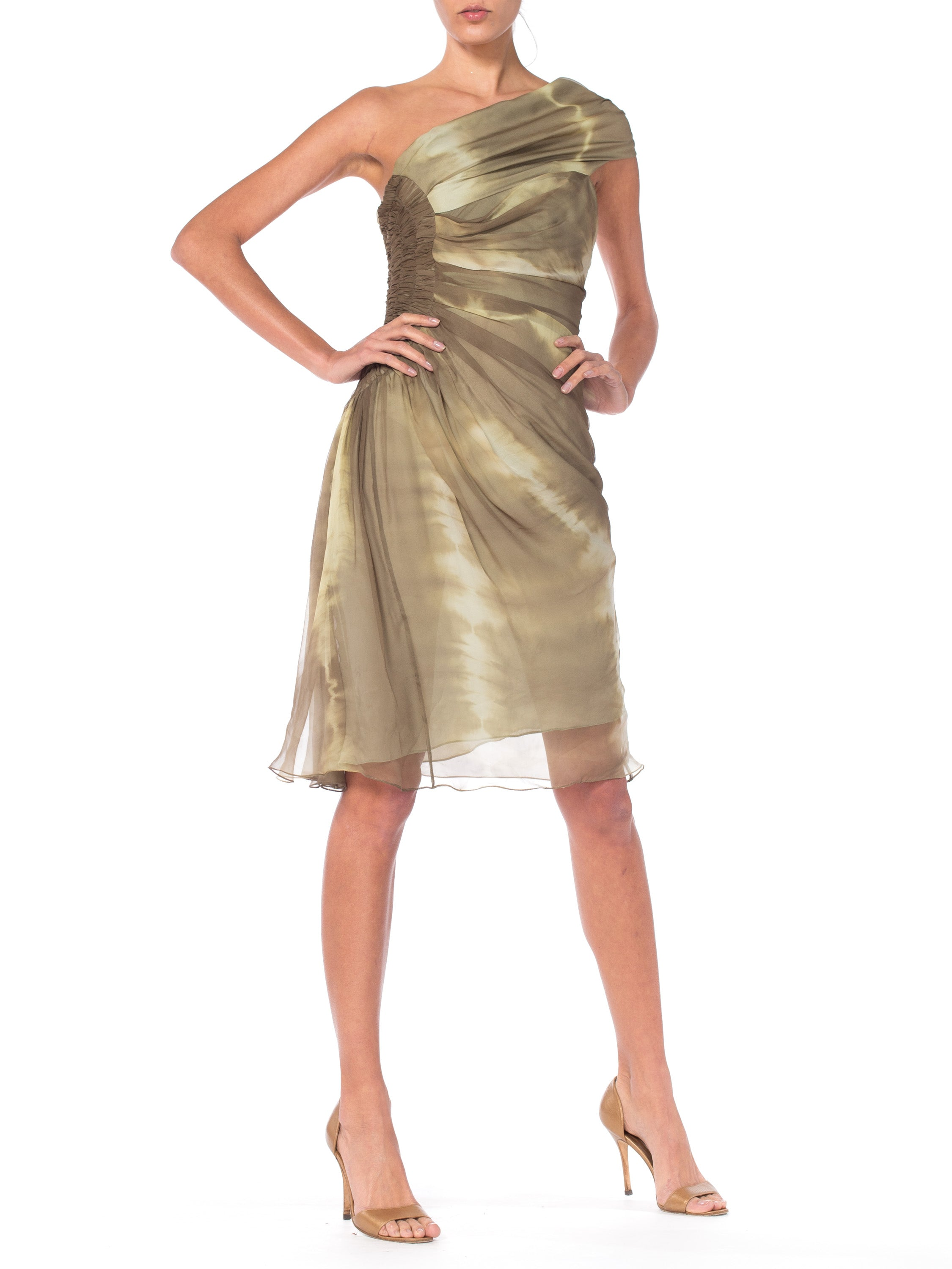 2000S John Galliano CHRISTIAN DIOR Olive Green Silk Chiffon Tie Dyed And Draped One Shoulder Bias Dress