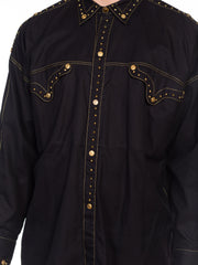 1990s Gianni Versace Shirt With Gold Medusa Studs & Metallic Embroidery 1990s