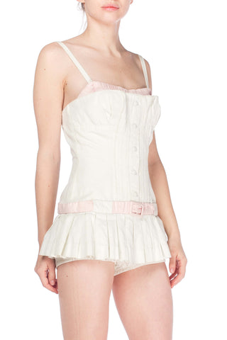 1950S White & Pink Cotton Boned Swimsuit Sunsuit With Skirt