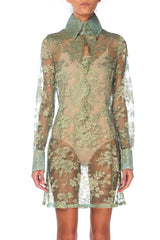 Dolce & Gabbana Sheer Green and Gold Lace Shirtdress