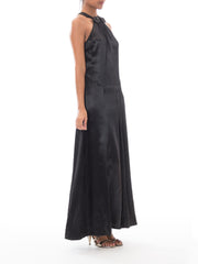1930s Black Satin Charmeuse Bias Cut Gown w/ Bow Detail