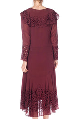 1920s Mauve Colored Dress With Spiral Cutouts And Embroidery
