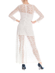 1960's bridal white lace gown with sun flower detail