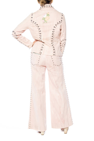 1970S RONCELLI Cotton Studded Denim Suit With Added Embroidered Trims And Ribbon Pant