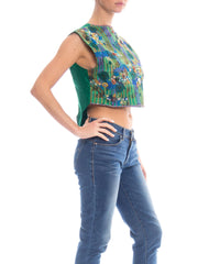 1980s Floral Embroidered Beaded Top