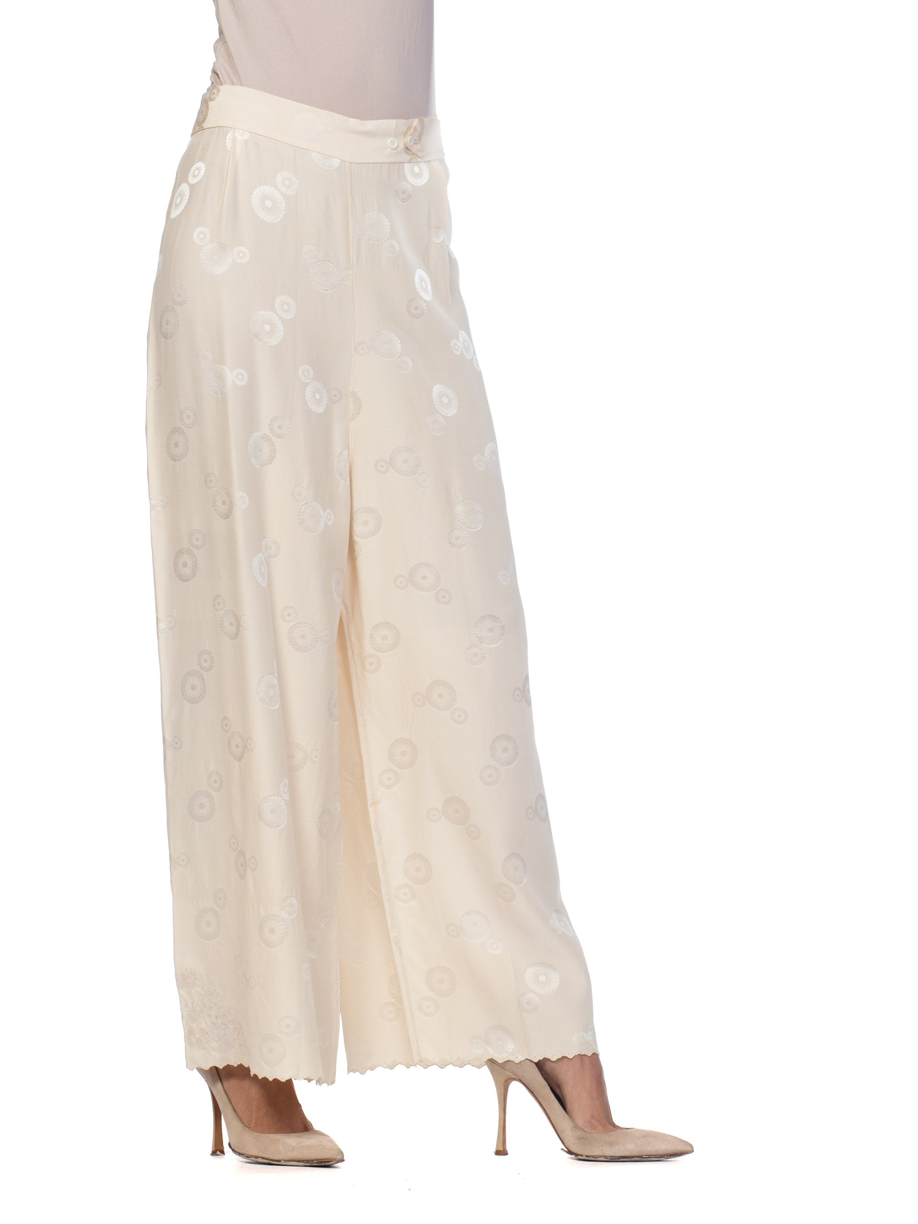 1930S Cream Haute Couture Silk Jaquard Chinese Lounge Pants