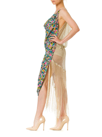 1940S Morphew Collection Silk Beadwork Avant Garde Dress Made Of Beaded And 1930S Fringed Mesh