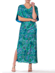1960s - 1970s Cotton Sateen Hawaiian Dress