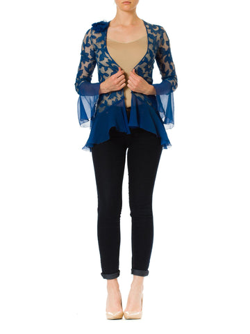 1920S Blue Floral Silk Chiffon Appliqué On Net Flutter Sleeve Jacket & Dress Ensemble